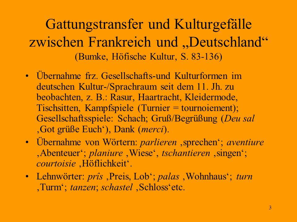 3 Gattungstransfer und Kulturgefälle zwischen Frankreich und Deutschland (Bumke, Höfische Kultur, S. 83-136) Übernahme frz. Gesellschafts-und Kulturfo