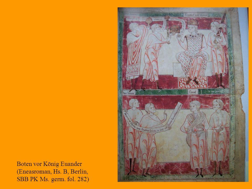 31 Boten vor König Euander (Eneasroman, Hs. B, Berlin, SBB PK Ms. germ. fol. 282)