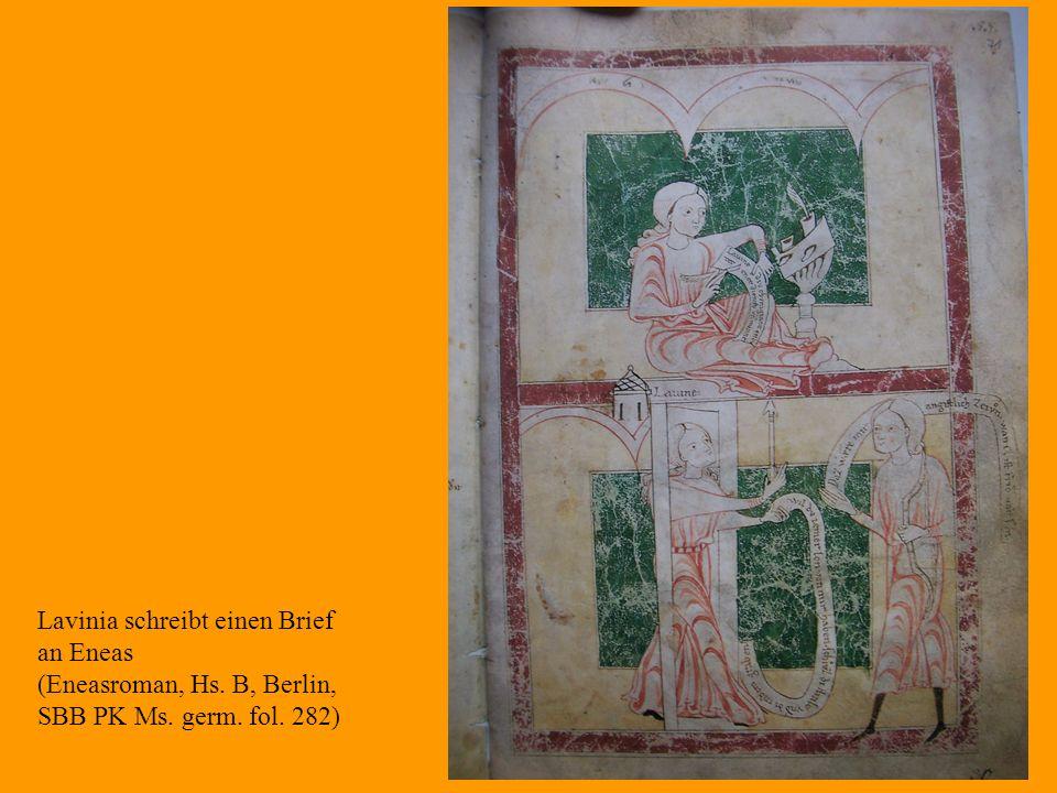 33 Lavinia schreibt einen Brief an Eneas (Eneasroman, Hs. B, Berlin, SBB PK Ms. germ. fol. 282)