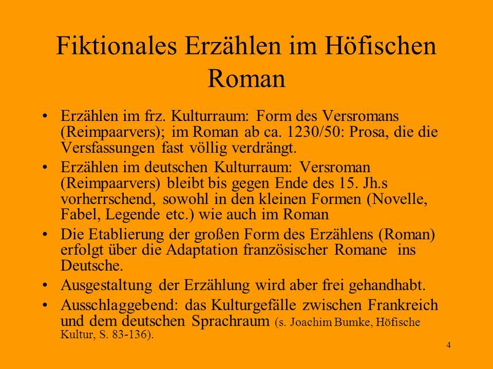 4 Fiktionales Erzählen im Höfischen Roman Erzählen im frz. Kulturraum: Form des Versromans (Reimpaarvers); im Roman ab ca. 1230/50: Prosa, die die Ver