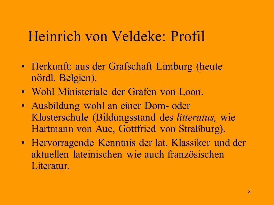8 Heinrich von Veldeke: Profil Herkunft: aus der Grafschaft Limburg (heute nördl. Belgien). Wohl Ministeriale der Grafen von Loon. Ausbildung wohl an