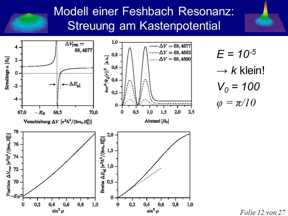 Modell einer Feshbach Resonanz: Streuung am Kastenpotential E = 10 -5 k klein! V 0 = 100 φ = π/10 Folie 12 von 27