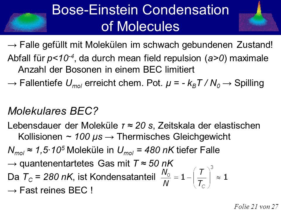 Bose-Einstein Condensation of Molecules Falle gefüllt mit Molekülen im schwach gebundenen Zustand! Abfall für p 0) maximale Anzahl der Bosonen in eine