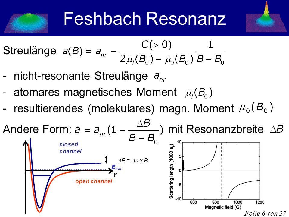 Feshbach Resonanz Streulänge -nicht-resonante Streulänge -atomares magnetisches Moment -resultierendes (molekulares) magn. Moment Andere Form: mit Res