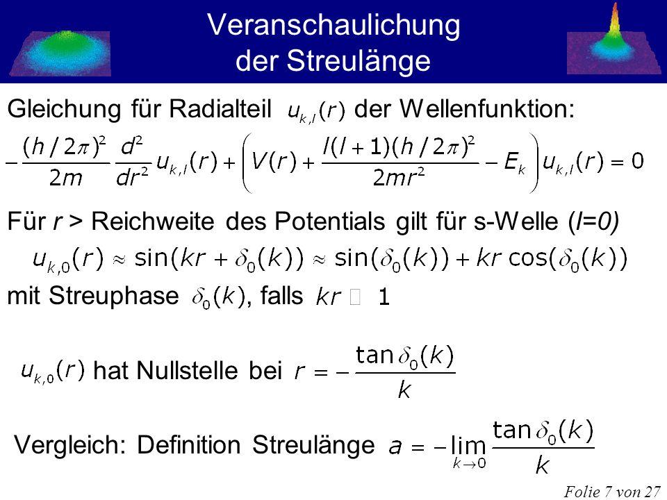 Veranschaulichung der Streulänge Gleichung für Radialteil der Wellenfunktion: Für r > Reichweite des Potentials gilt für s-Welle (l=0) mit Streuphase,