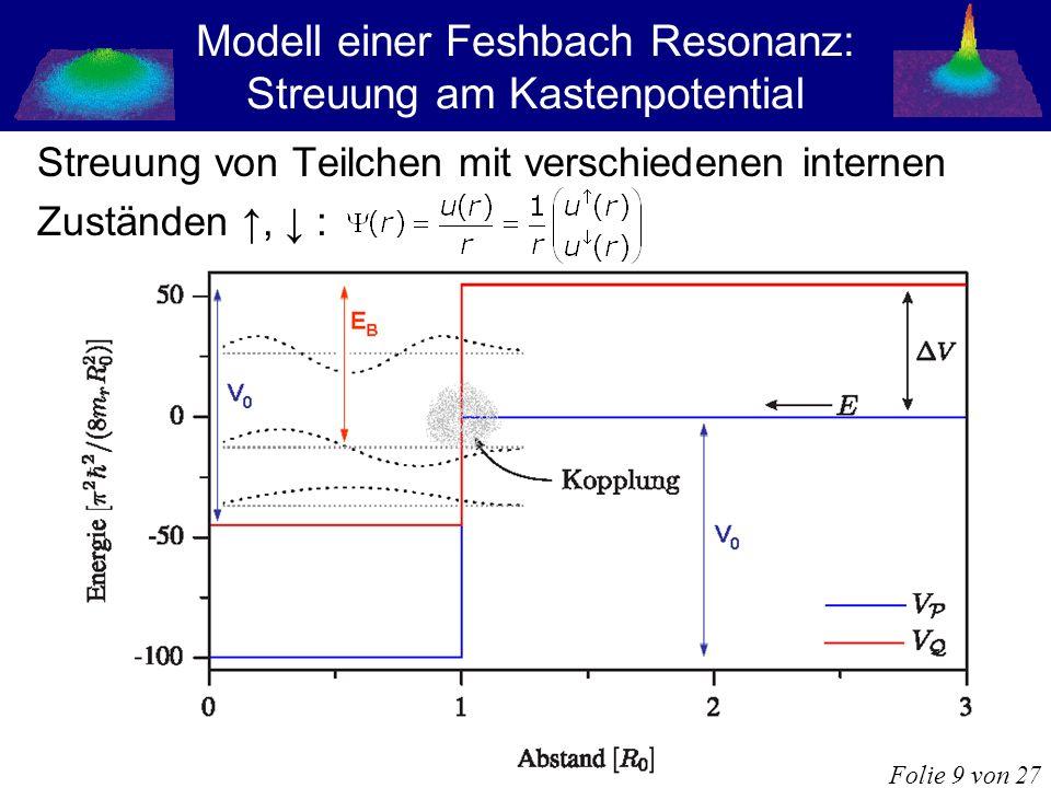 Modell einer Feshbach Resonanz: Streuung am Kastenpotential Streuung von Teilchen mit verschiedenen internen Zuständen, : Folie 9 von 27