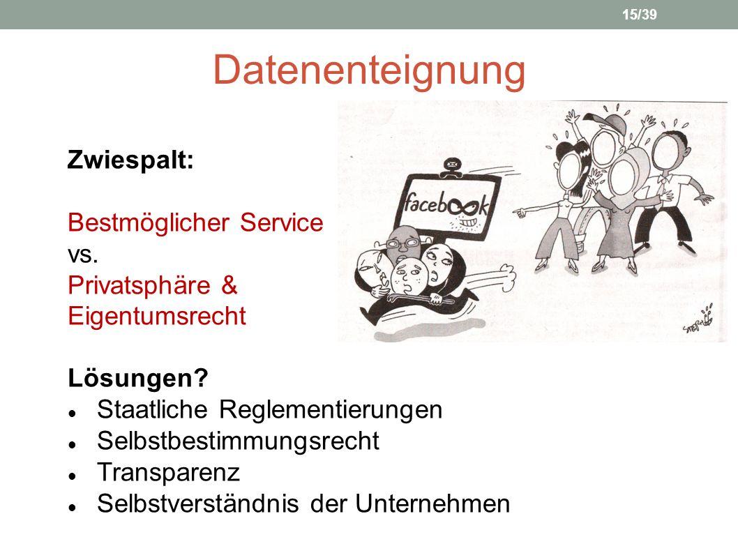 Datenenteignung Zwiespalt: Bestmöglicher Service vs. Privatsphäre & Eigentumsrecht 15 Lösungen? Staatliche Reglementierungen Selbstbestimmungsrecht Tr