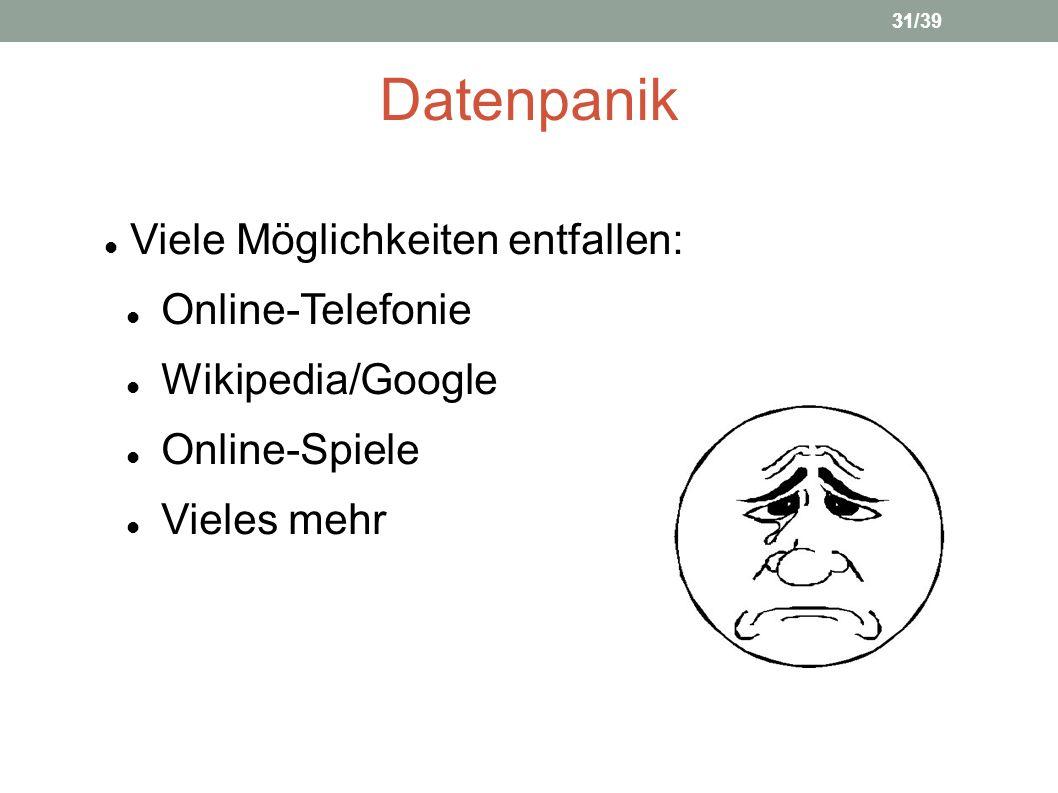 Datenpanik Viele Möglichkeiten entfallen: Online-Telefonie Wikipedia/Google Online-Spiele Vieles mehr 3131/39