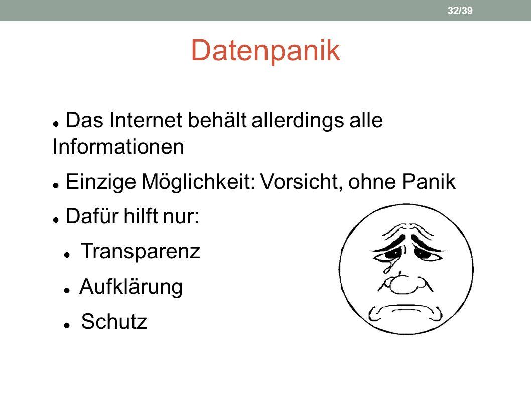 Datenpanik Das Internet behält allerdings alle Informationen Einzige Möglichkeit: Vorsicht, ohne Panik Dafür hilft nur: Transparenz Aufklärung Schutz