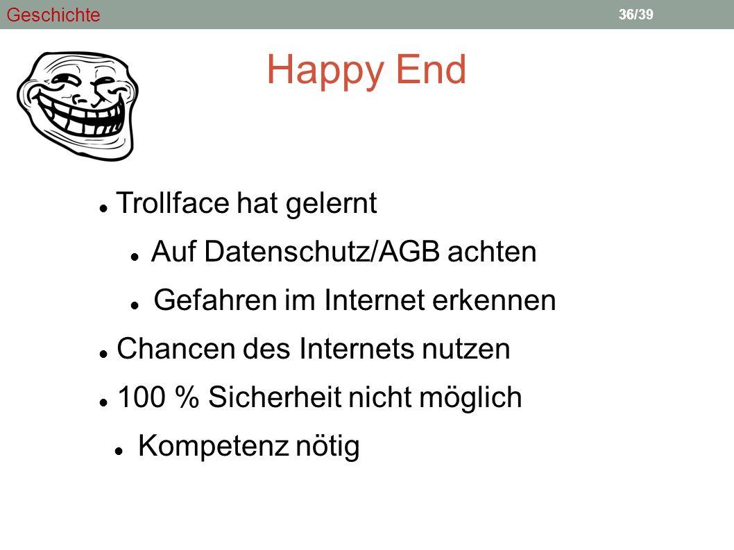 Happy End Trollface hat gelernt Auf Datenschutz/AGB achten Gefahren im Internet erkennen Chancen des Internets nutzen 100 % Sicherheit nicht möglich K