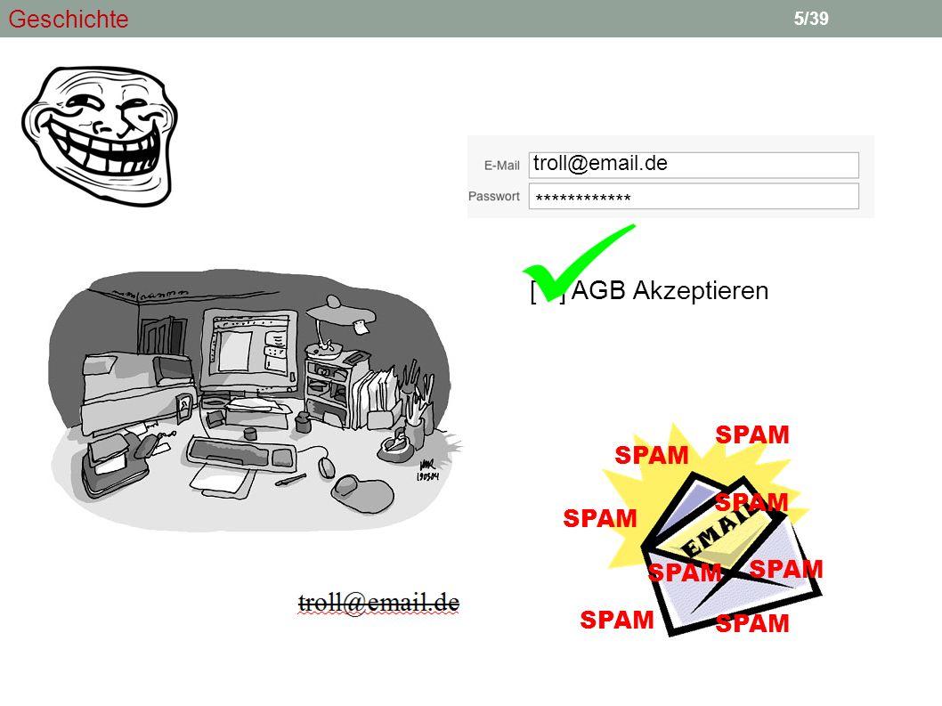 5 [ ] AGB Akzeptieren troll@email.de ************ SPAM 5/39 Geschichte