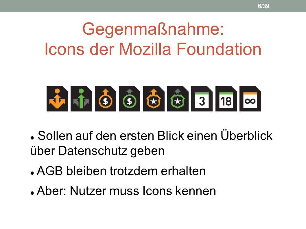 Gegenmaßnahme: Icons der Mozilla Foundation Sollen auf den ersten Blick einen Überblick über Datenschutz geben AGB bleiben trotzdem erhalten Aber: Nut