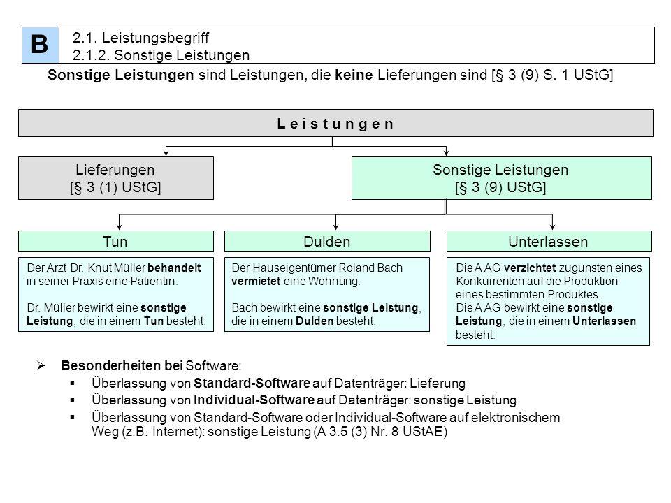 13 Sonstige Leistungen sind Leistungen, die keine Lieferungen sind [§ 3 (9) S. 1 UStG] Besonderheiten bei Software: Überlassung von Standard-Software
