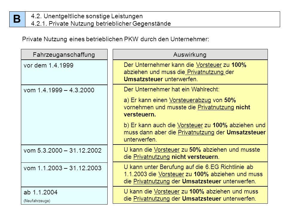 48 Private Nutzung eines betrieblichen PKW durch den Unternehmer: FahrzeuganschaffungAuswirkung vor dem 1.4.1999 Der Unternehmer kann die Vorsteuer zu