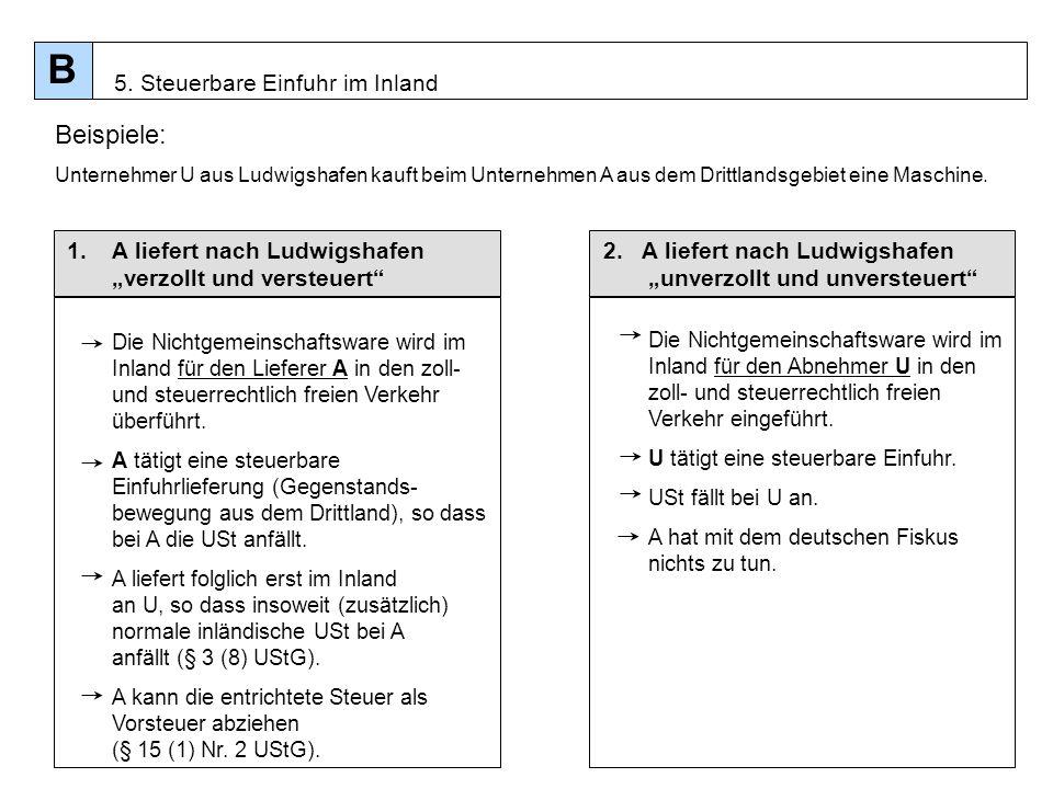 54 1.A liefert nach Ludwigshafen verzollt und versteuert Die Nichtgemeinschaftsware wird im Inland für den Lieferer A in den zoll- und steuerrechtlich