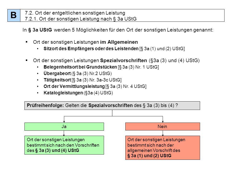 68 In § 3a UStG werden 5 Möglichkeiten für den Ort der sonstigen Leistungen genannt: Ort der sonstigen Leistungen im Allgemeinen Sitzort des Empfänger