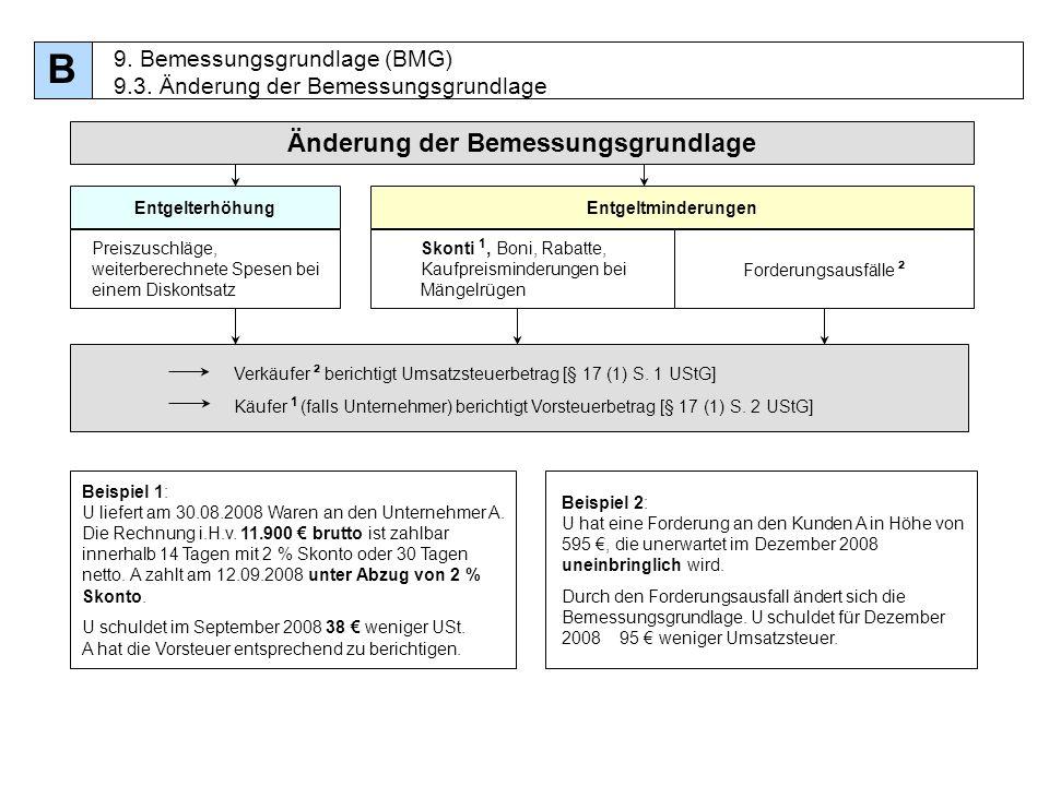 91 Änderung der Bemessungsgrundlage Verkäufer ² berichtigt Umsatzsteuerbetrag [§ 17 (1) S. 1 UStG] Käufer 1 (falls Unternehmer) berichtigt Vorsteuerbe