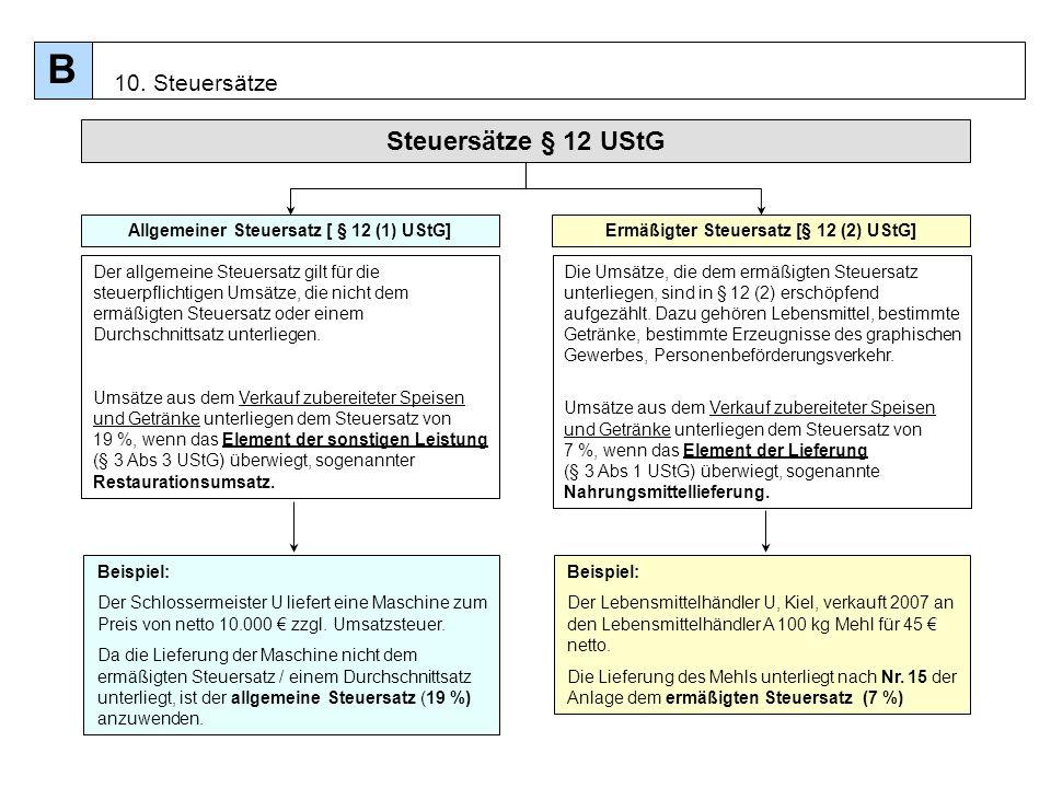 93 Steuersätze § 12 UStG Allgemeiner Steuersatz [ § 12 (1) UStG] Beispiel: Der Schlossermeister U liefert eine Maschine zum Preis von netto 10.000 zzg