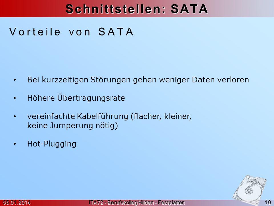 Schnittstellen: SATA Vorteile von SATA 05.01.2014 ITA72 - Berufskolleg Hilden - Festplatten 10 Bei kurzzeitigen Störungen gehen weniger Daten verloren
