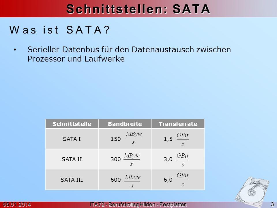 Schnittstellen: SATA 05.01.2014 ITA72 - Berufskolleg Hilden - Festplatten 3 Serieller Datenbus für den Datenaustausch zwischen Prozessor und Laufwerke