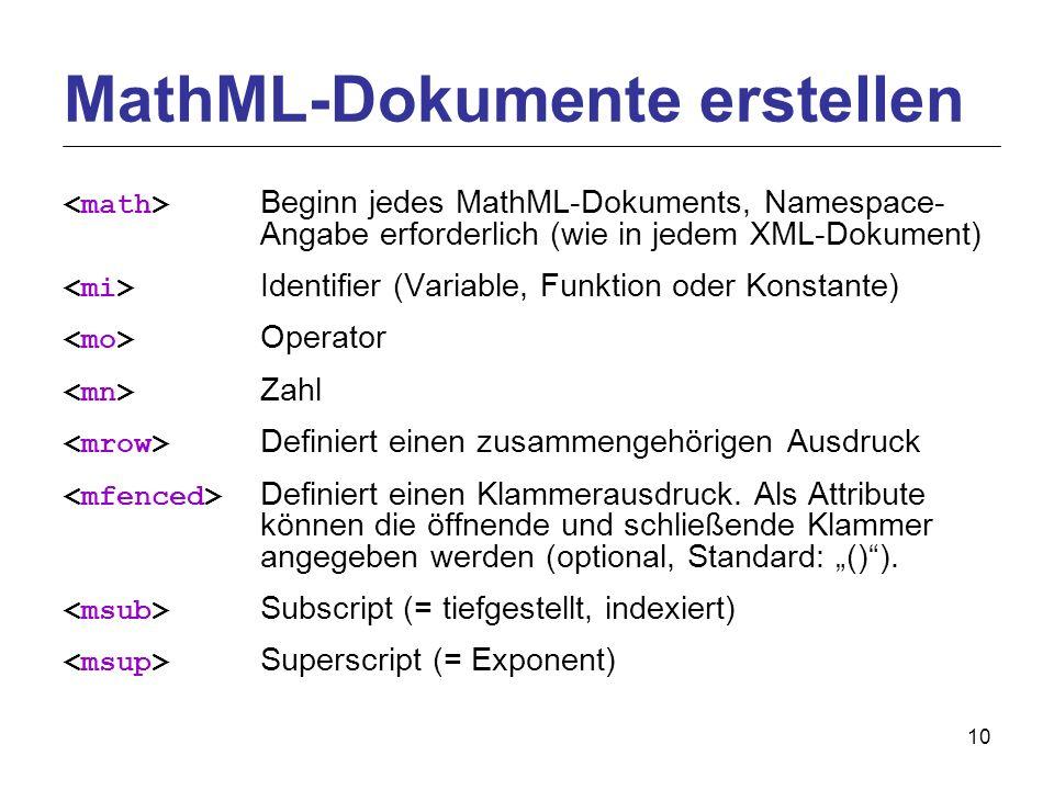 10 Beginn jedes MathML-Dokuments, Namespace- Angabe erforderlich (wie in jedem XML-Dokument) Identifier (Variable, Funktion oder Konstante) Operator Zahl Definiert einen zusammengehörigen Ausdruck Definiert einen Klammerausdruck.