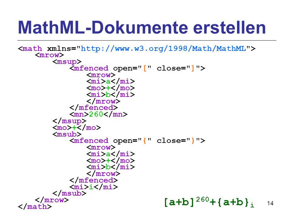 14 a + b 260 + a + b i MathML-Dokumente erstellen [a+b] 260 +{a+b} i