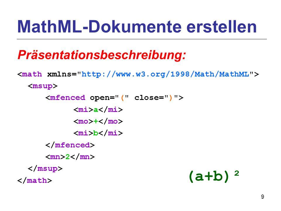 9 a + b 2 MathML-Dokumente erstellen Präsentationsbeschreibung: (a+b)²