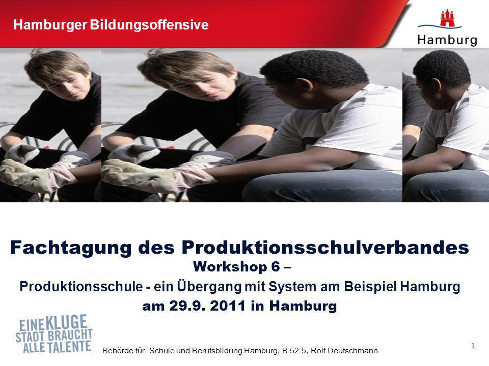 1 Behörde für Schule und Berufsbildung Hamburg, B 52-5, Rolf Deutschmann Hamburger Bildungsoffensive Fachtagung des Produktionsschulverbandes Workshop