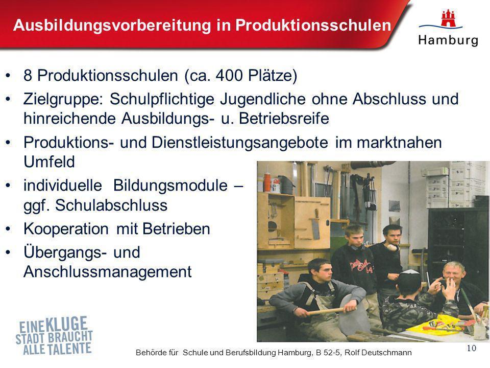 10 Behörde für Schule und Berufsbildung Hamburg, B 52-5, Rolf Deutschmann Ausbildungsvorbereitung in Produktionsschulen 8 Produktionsschulen (ca. 400