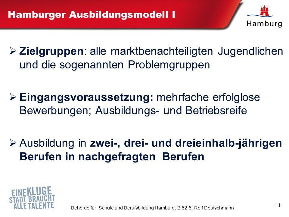 11 Behörde für Schule und Berufsbildung Hamburg, B 52-5, Rolf Deutschmann Hamburger Ausbildungsmodell I Zielgruppen: alle marktbenachteiligten Jugendl