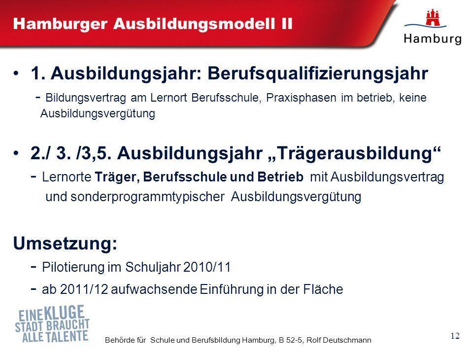 12 Behörde für Schule und Berufsbildung Hamburg, B 52-5, Rolf Deutschmann Hamburger Ausbildungsmodell II 1. Ausbildungsjahr: Berufsqualifizierungsjahr