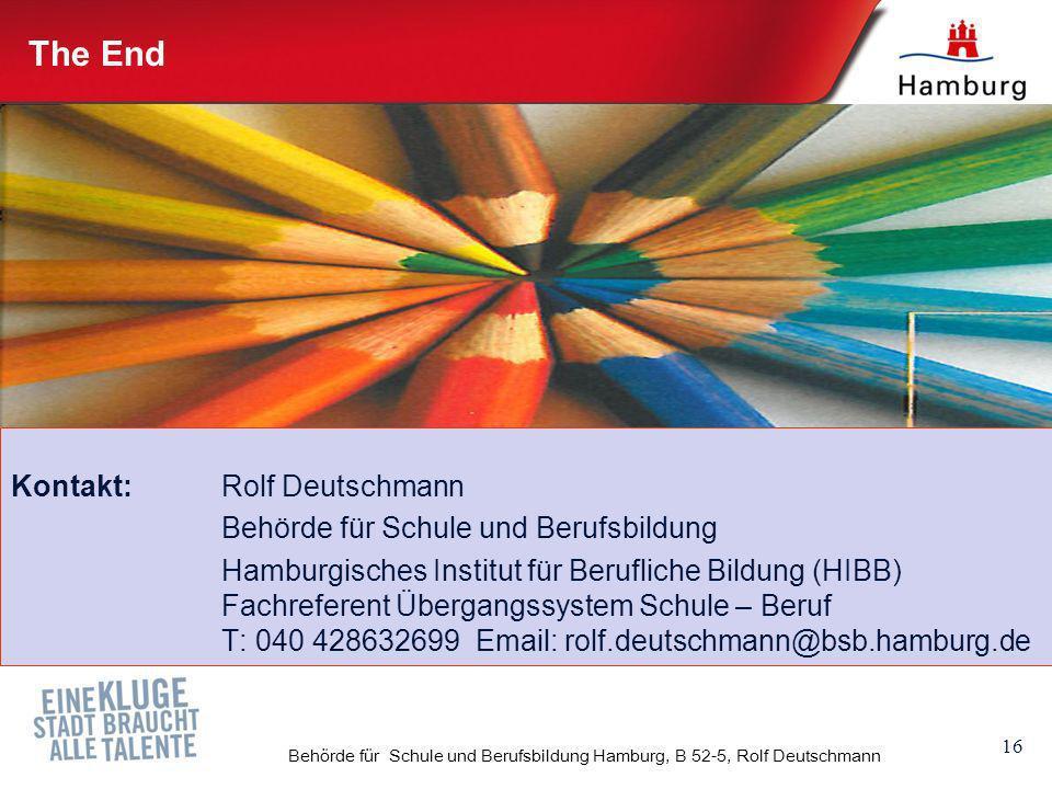 16 Behörde für Schule und Berufsbildung Hamburg, B 52-5, Rolf Deutschmann The End Kontakt: Rolf Deutschmann Behörde für Schule und Berufsbildung Hambu