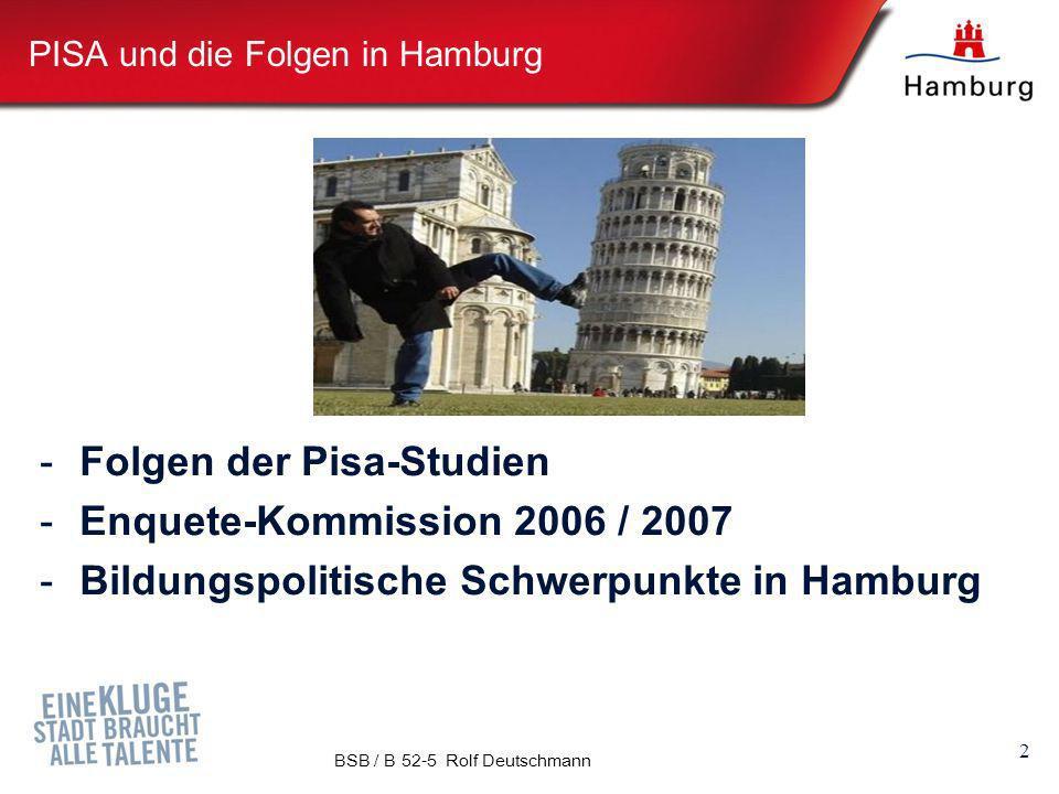 PISA und die Folgen in Hamburg -Folgen der Pisa-Studien -Enquete-Kommission 2006 / 2007 -Bildungspolitische Schwerpunkte in Hamburg 2 BSB / B 52-5 Rol