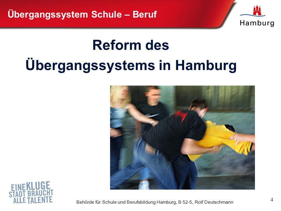 4 Behörde für Schule und Berufsbildung Hamburg, B 52-5, Rolf Deutschmann Übergangssystem Schule – Beruf Reform des Übergangssystems in Hamburg