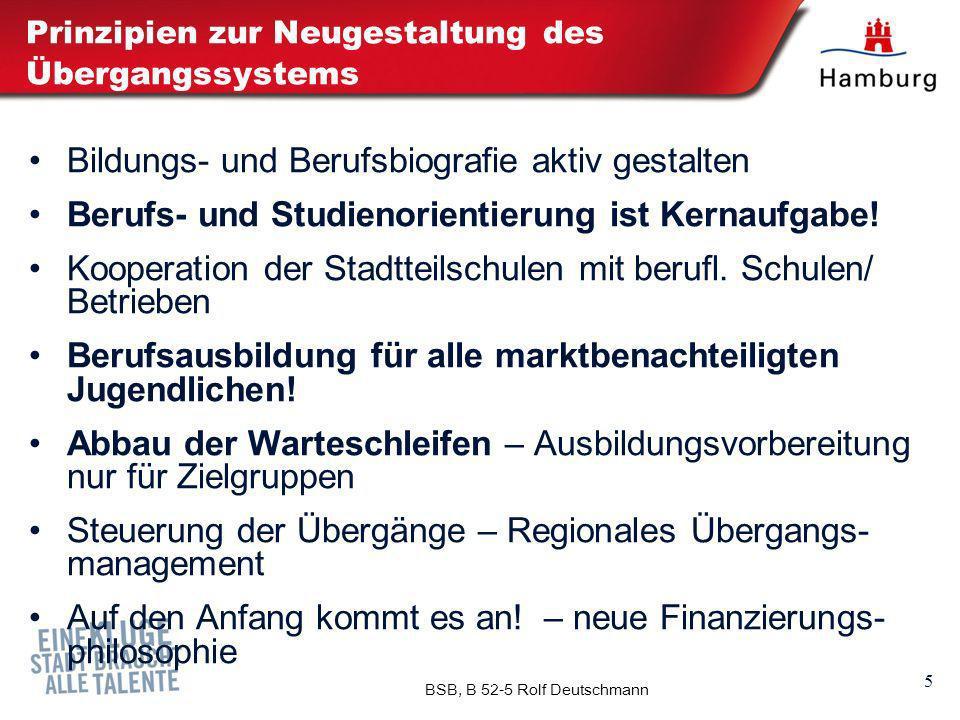 5 BSB, B 52-5 Rolf Deutschmann Prinzipien zur Neugestaltung des Übergangssystems Bildungs- und Berufsbiografie aktiv gestalten Berufs- und Studienorie