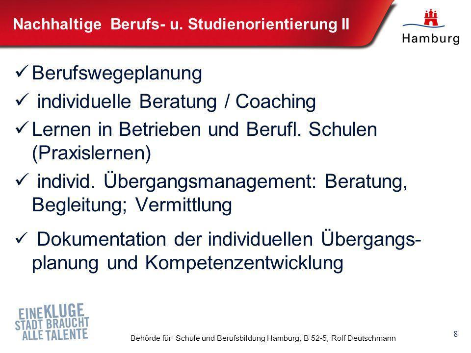 9 Behörde für Schule und Berufsbildung Hamburg, B 52-5, Rolf Deutschmann Neue Ausbildungsvorbereitung (AV) Zielgruppe: berufsschulpflichtige SchulabgängerInnen ohne Schulabschluss / Ausbildungsreife mit individuellem Förderbedarf Profile der schulischen Ausbildungsvorbereitung (AV): - Dualisierung (zwei Lernorte: Betrieb + Schule) - Individualisierung (Lernformen, Dauer, Sprachförderung, etc.) - Ganztagsbetrieb - Lernbegleitung - Regionalisierung Umsetzung : - Pilotierung 2010/11 - Einführung 2011/12
