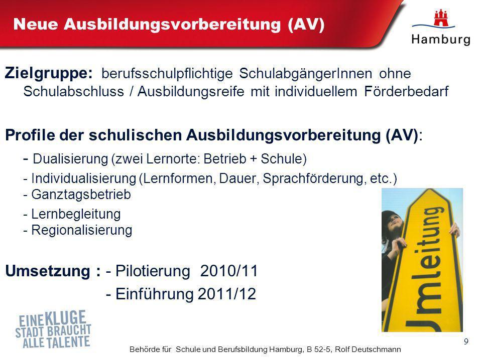 9 Behörde für Schule und Berufsbildung Hamburg, B 52-5, Rolf Deutschmann Neue Ausbildungsvorbereitung (AV) Zielgruppe: berufsschulpflichtige Schulabgä