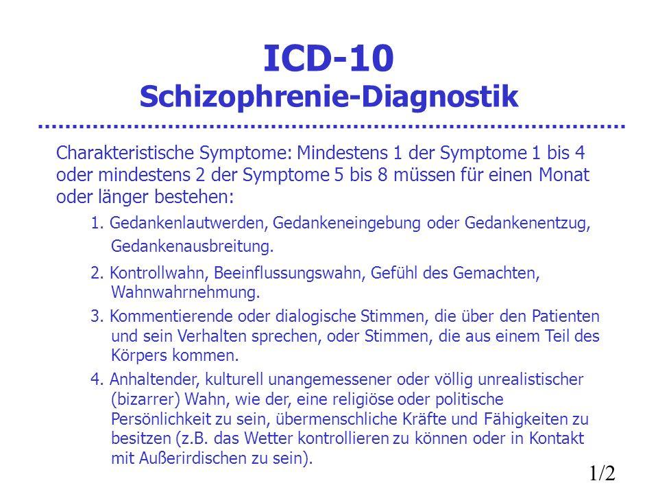 ICD-10 Schizophrenie-Diagnostik Charakteristische Symptome: Mindestens 1 der Symptome 1 bis 4 oder mindestens 2 der Symptome 5 bis 8 müssen für einen Monat oder länger bestehen: 1.