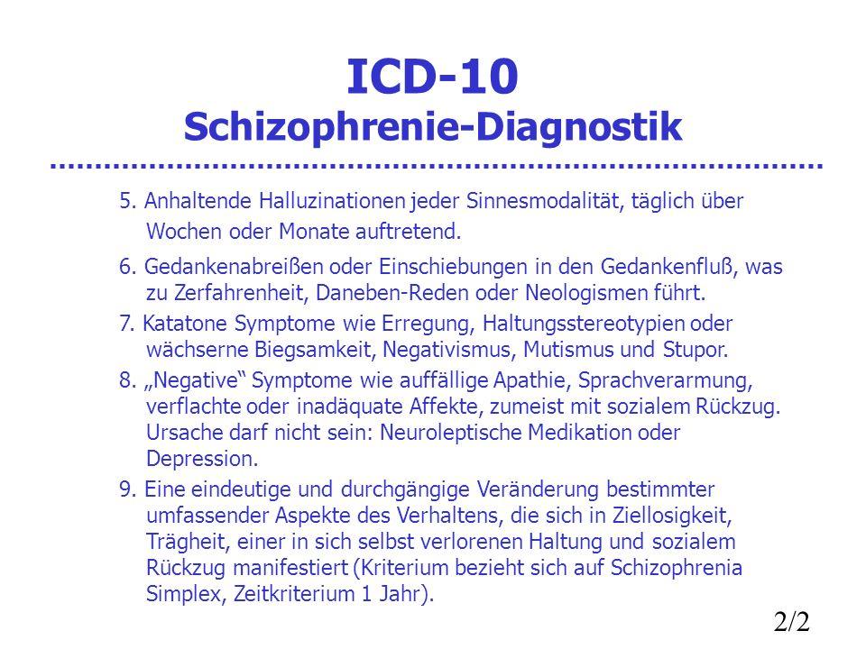 ICD-10 Schizophrenie-Diagnostik 5. Anhaltende Halluzinationen jeder Sinnesmodalität, täglich über Wochen oder Monate auftretend. 6. Gedankenabreißen o