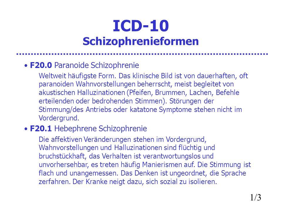 ICD-10 Schizophrenieformen F20.0 Paranoide Schizophrenie Weltweit häufigste Form. Das klinische Bild ist von dauerhaften, oft paranoiden Wahnvorstellu