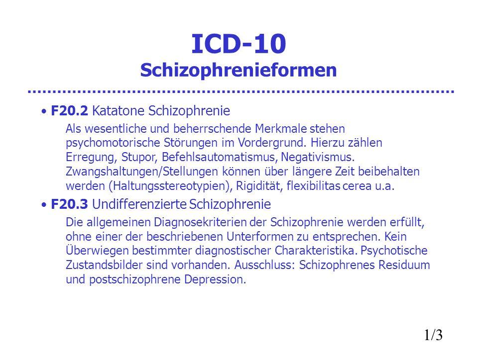 ICD-10 Schizophrenieformen F20.2 Katatone Schizophrenie Als wesentliche und beherrschende Merkmale stehen psychomotorische Störungen im Vordergrund.