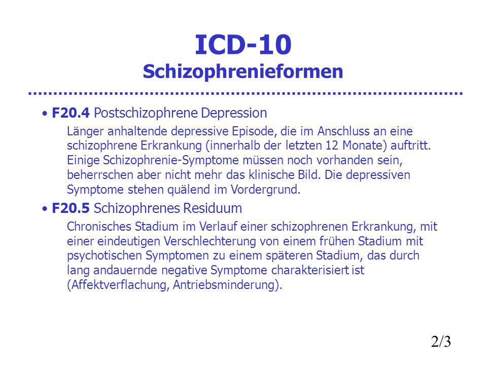 ICD-10 Schizophrenieformen F20.4 Postschizophrene Depression Länger anhaltende depressive Episode, die im Anschluss an eine schizophrene Erkrankung (innerhalb der letzten 12 Monate) auftritt.