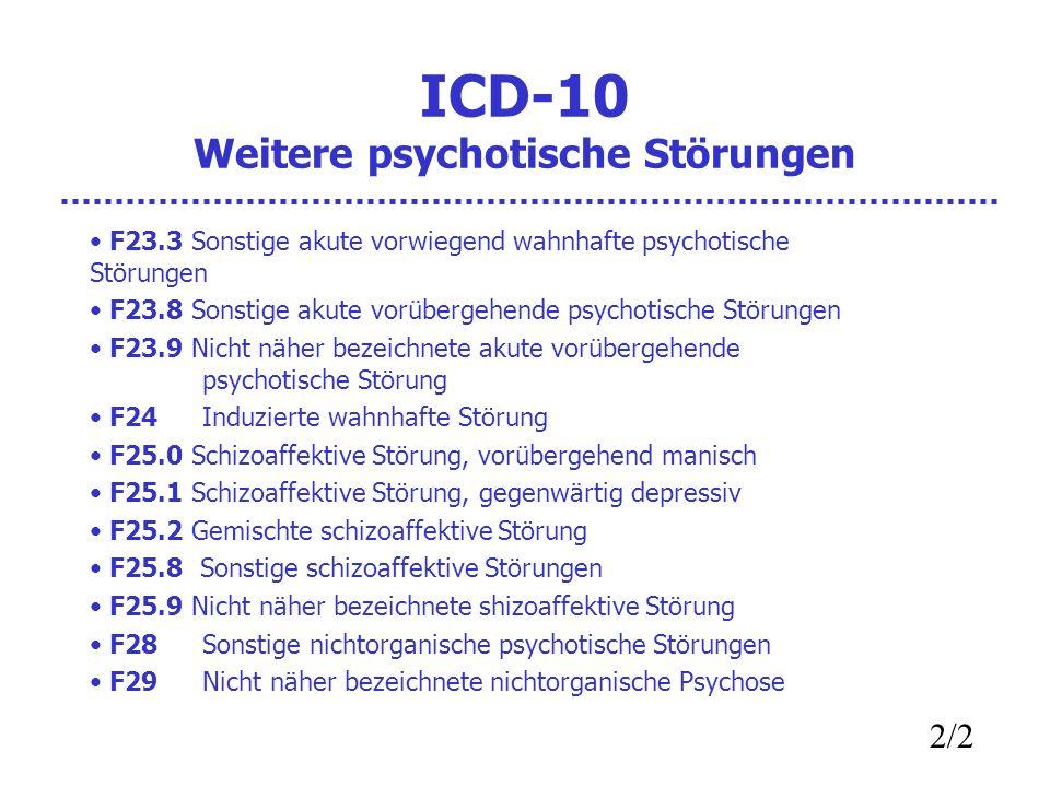 ICD-10 Weitere psychotische Störungen F23.3 Sonstige akute vorwiegend wahnhafte psychotische Störungen F23.8 Sonstige akute vorübergehende psychotische Störungen F23.9 Nicht näher bezeichnete akute vorübergehende psychotische Störung F24 Induzierte wahnhafte Störung F25.0 Schizoaffektive Störung, vorübergehend manisch F25.1 Schizoaffektive Störung, gegenwärtig depressiv F25.2 Gemischte schizoaffektive Störung F25.8 Sonstige schizoaffektive Störungen F25.9 Nicht näher bezeichnete shizoaffektive Störung F28 Sonstige nichtorganische psychotische Störungen F29 Nicht näher bezeichnete nichtorganische Psychose 2/2