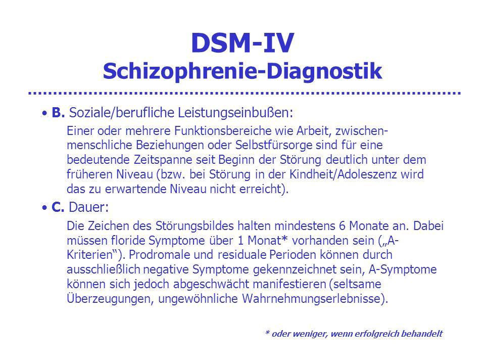 DSM-IV Schizophrenie-Diagnostik B. Soziale/berufliche Leistungseinbußen: Einer oder mehrere Funktionsbereiche wie Arbeit, zwischen- menschliche Bezieh