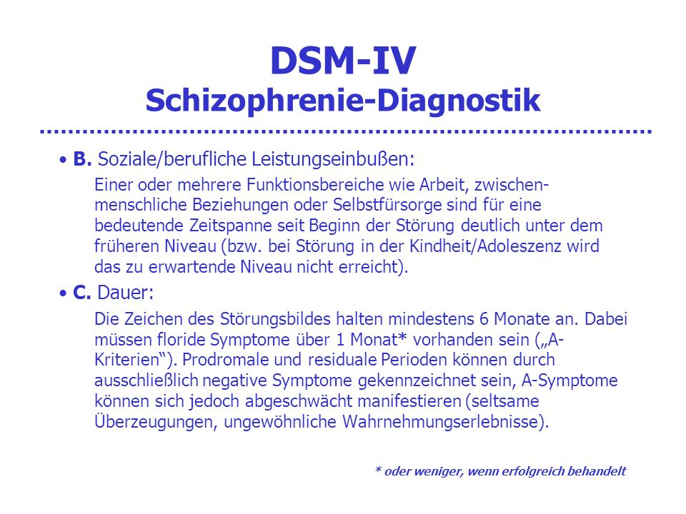 DSM-IV Schizophrenie-Diagnostik D.