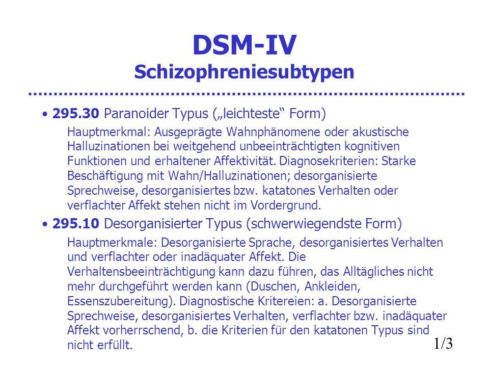 DSM-IV Schizophreniesubtypen 295.30 Paranoider Typus (leichteste Form) Hauptmerkmal: Ausgeprägte Wahnphänomene oder akustische Halluzinationen bei wei