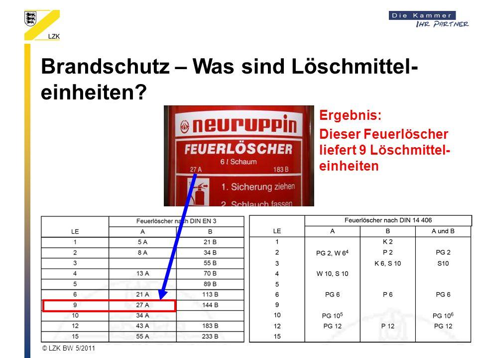 Brandschutz – Was sind Löschmittel- einheiten? Ergebnis: Dieser Feuerlöscher liefert 9 Löschmittel- einheiten © LZK BW 5/2011