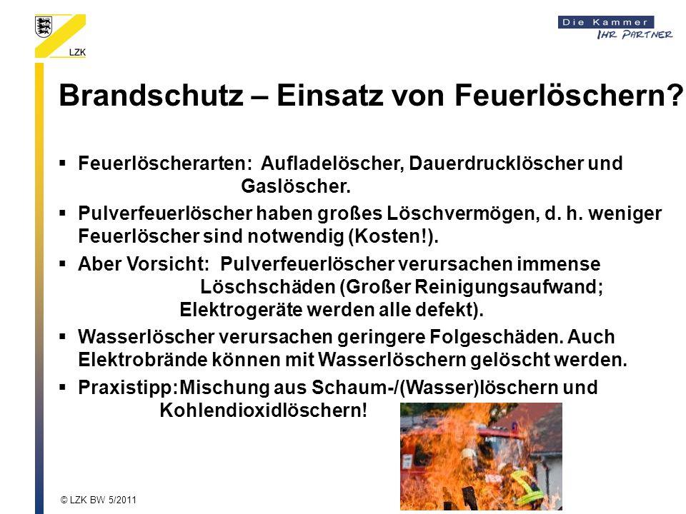 Brandschutz – Einsatz von Feuerlöschern? Feuerlöscherarten:Aufladelöscher, Dauerdrucklöscher und Gaslöscher. Pulverfeuerlöscher haben großes Löschverm