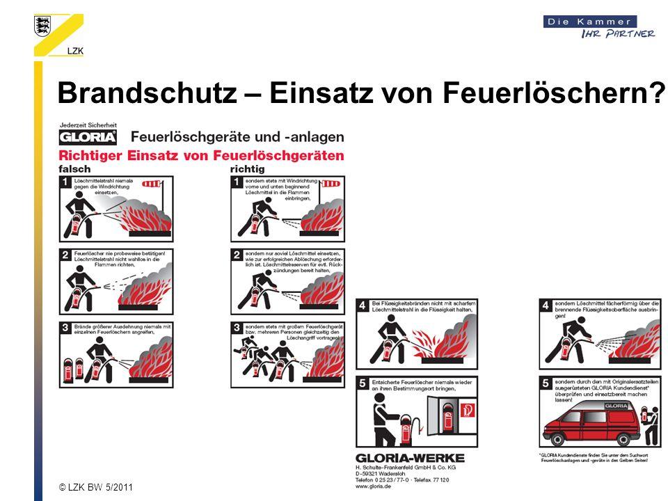 Brandschutz – Einsatz von Feuerlöschern? © LZK BW 5/2011