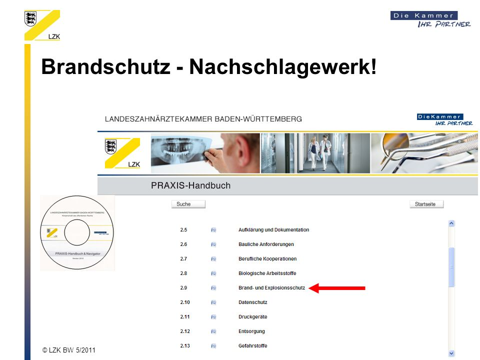 Brandschutz - Nachschlagewerk! © LZK BW 5/2011